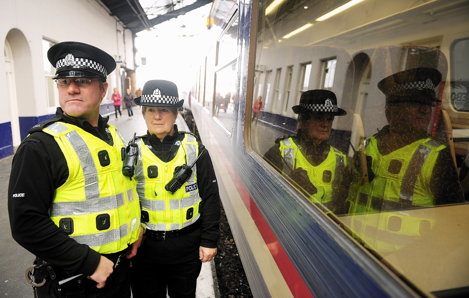 British Transport Police officers at Inverness Railway Station