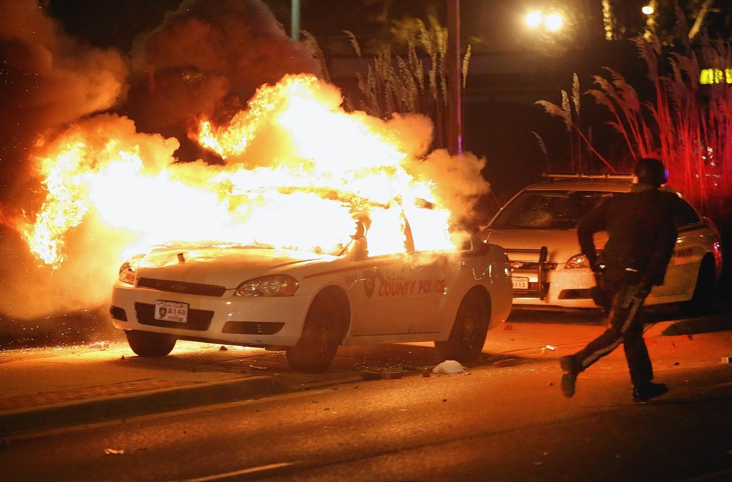 Cars have been set alight in Ferguson.