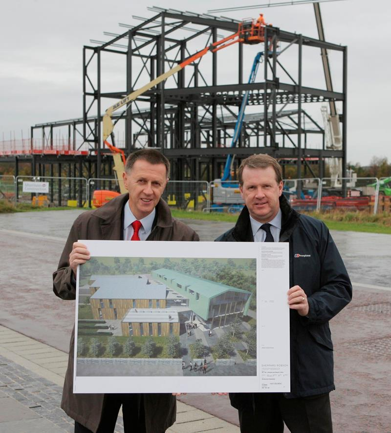 Clive Mulholland Principal of UHI and Alex Paterson, Chief Executive of HIE, in front of the site of the new HIE / UHI Building on Inverness Campus