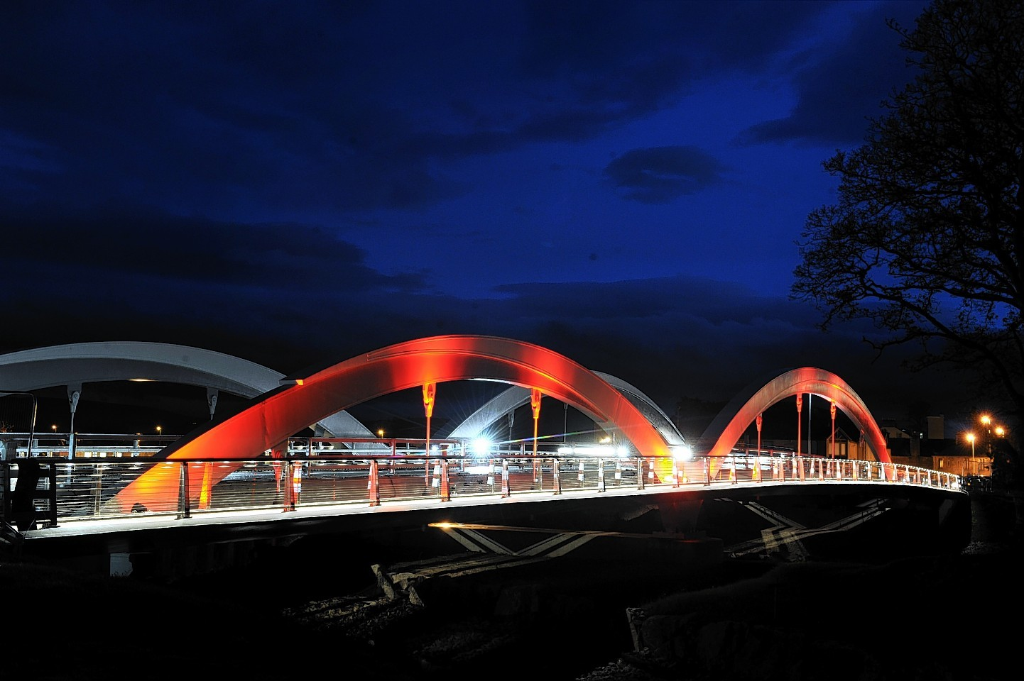 The lit up Landshut Bridge