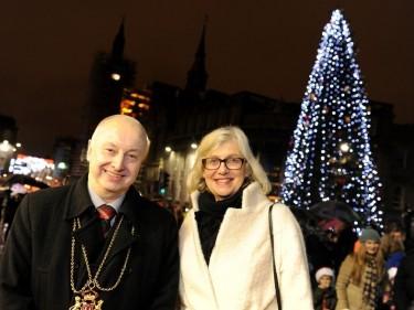 Lord Provost George Adam and Deputy Mayor of Stavanger Bjorg Tysdal Moe