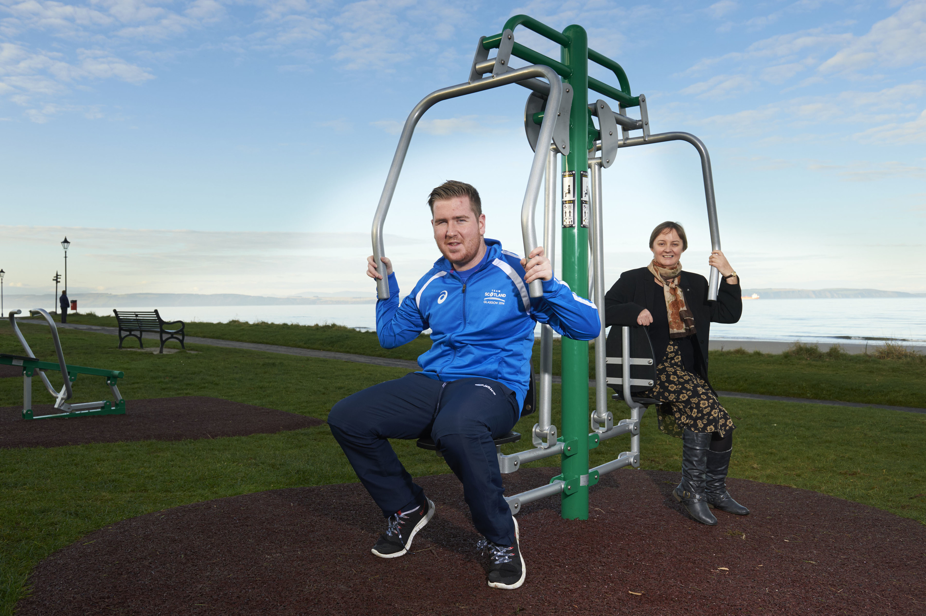 Nairn's Commonwealth Games competitor Jason MacLean with Councillor Liz MacDonald