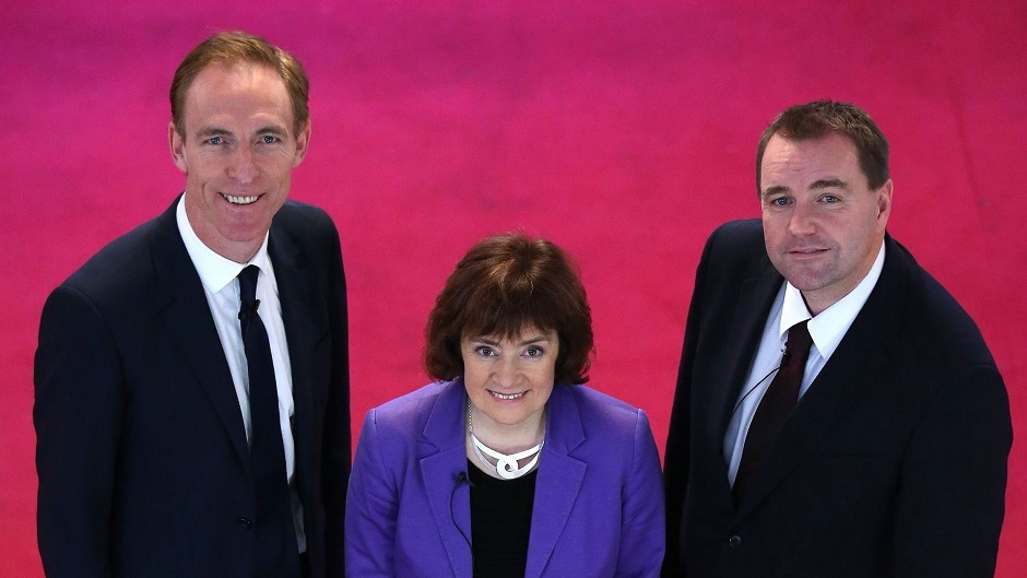 (left to right) Scottish Labour leadership candidates Jim Murphy, Sarah Boyack and Neil Findlay at City Halls in Glasgow