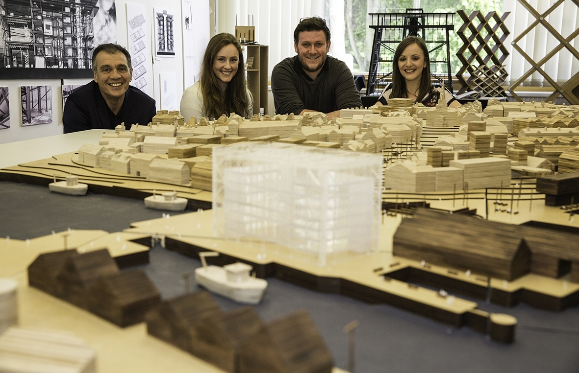 RGU students and their model of Peterhead