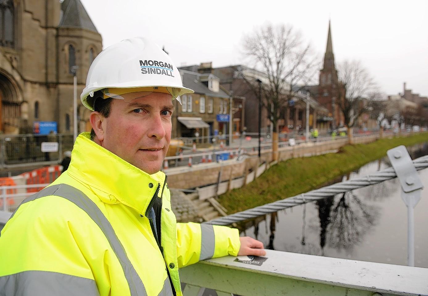 Robert Ogg, of Morgan Sindall, at the River Ness Flood Alleviation Scheme.