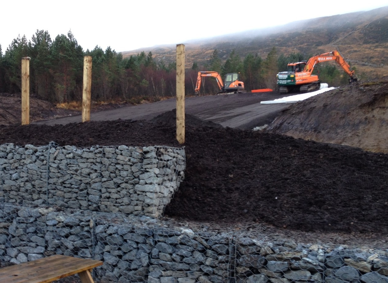Work is underway on laying the matting on the dry ski slope at Glencoe Mountain Resort