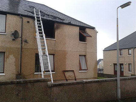 The scene of the fire in Bayview Terrace, Thurso