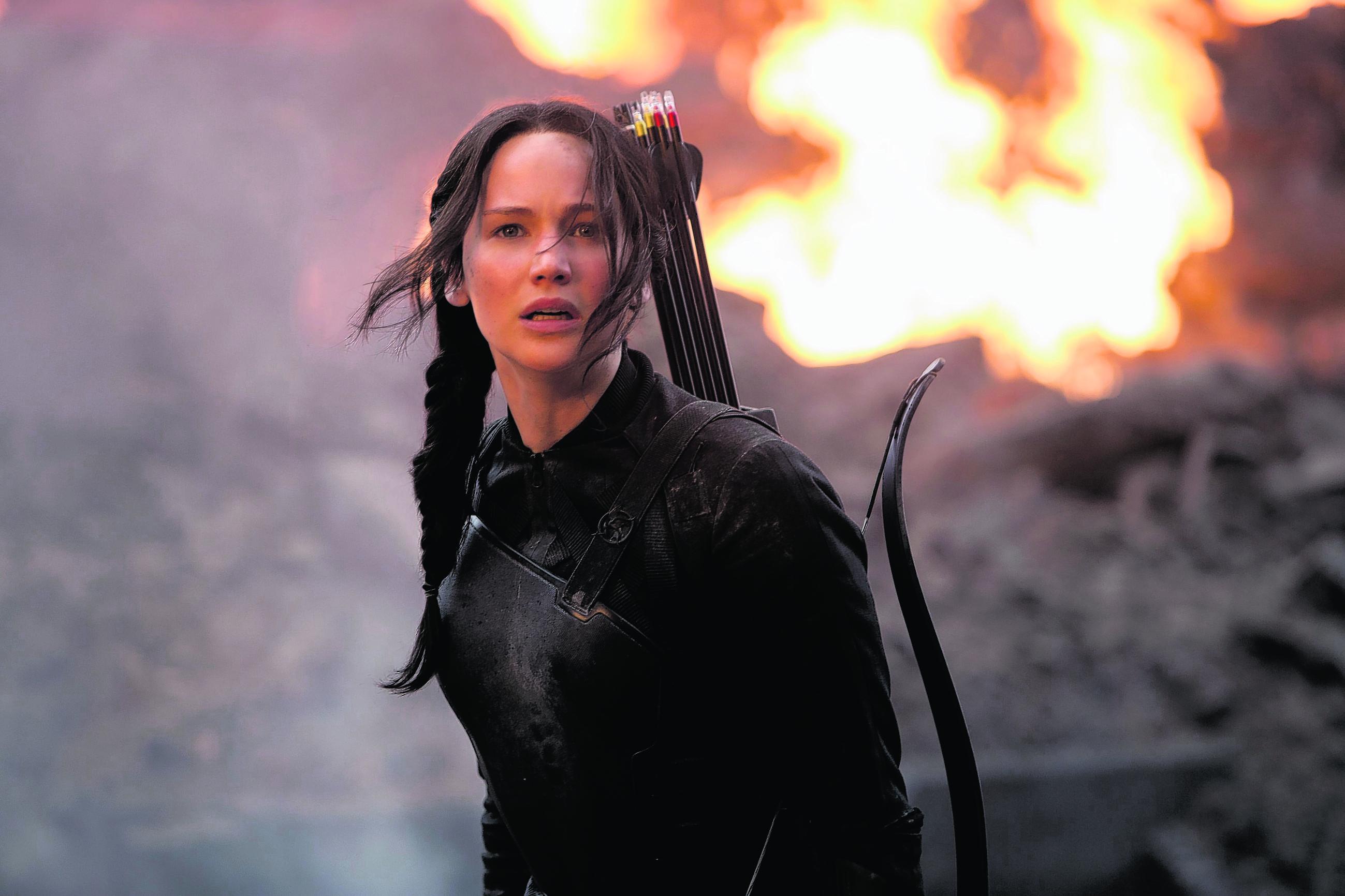 Jennifer Lawrence as reluctant heroine Katniss Everdeen