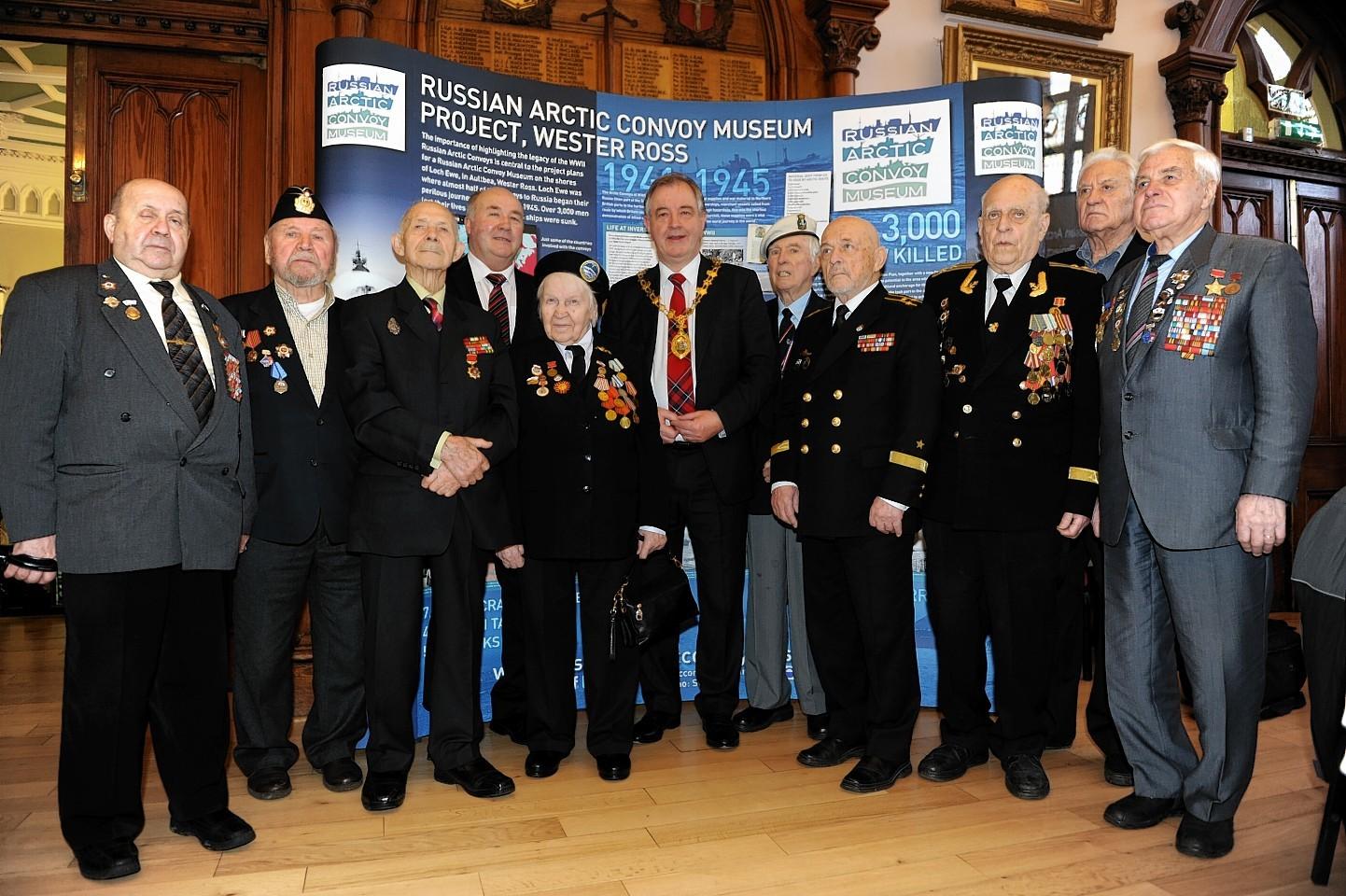 Russian veterans meet Provost Alex Graham in Inverness
