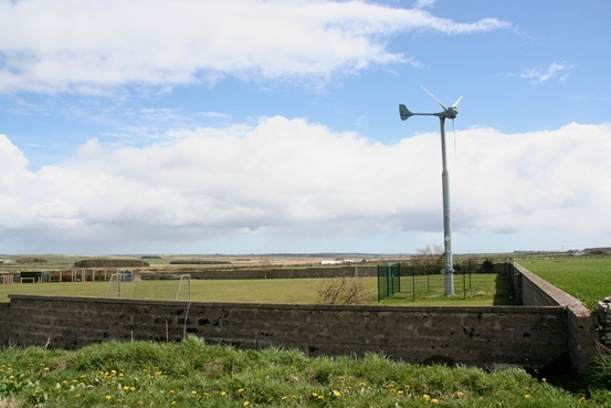 Brenda Herrick claims the turbine at Castletown Primary School is too close to the playing field