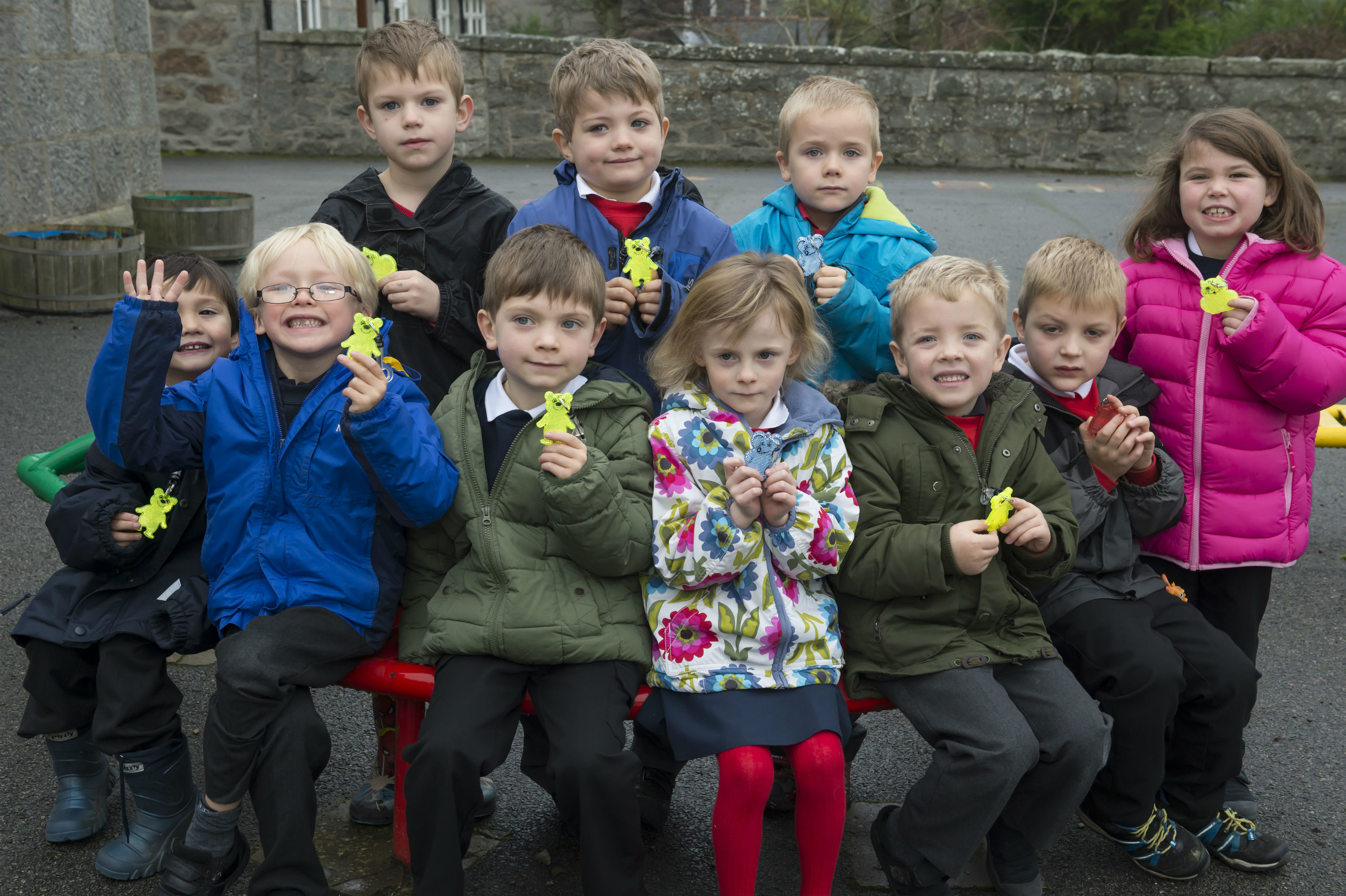 Primary ones at Dunecht School, Westhill were given the reflective keyrings