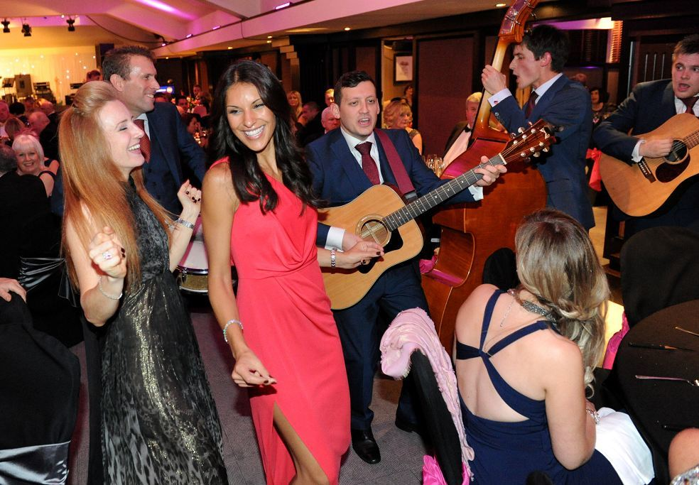 The London Essentials entertain guests, including Nicola Jolly