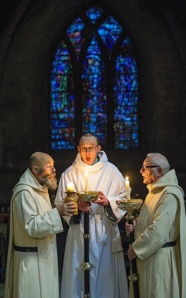 Monks at Pluscarden Abbey near Elgin
