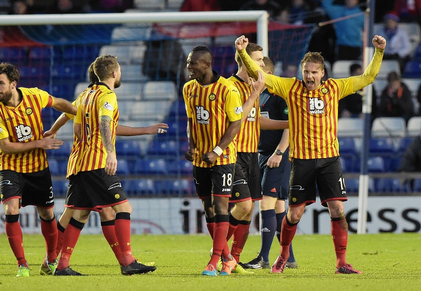 Ryan Stevenson celebrates his second goal of the afternoon in Inverness