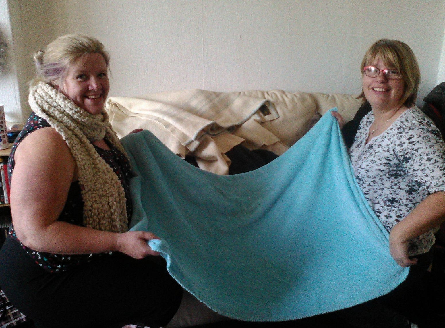 Margaret McEwan (left) and her friend Mairi MacGillivray, both of Ballachulish, with some of the blankets they have collected.