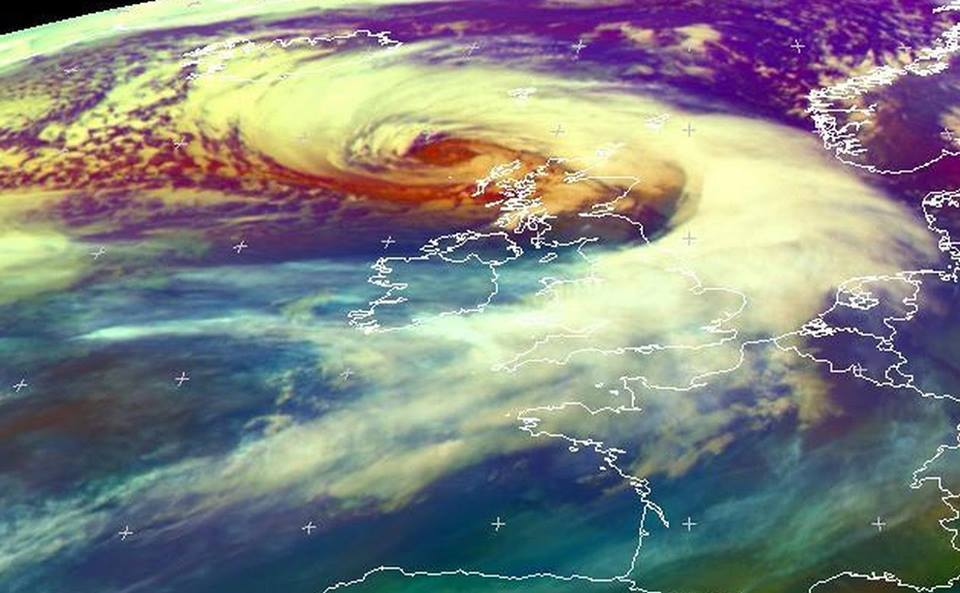 Satellite picture of the weather over Scotland