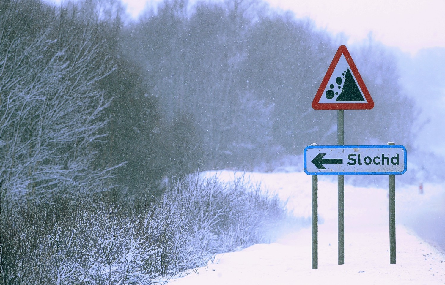 Snow at the Slochd on the A9 yesterday
