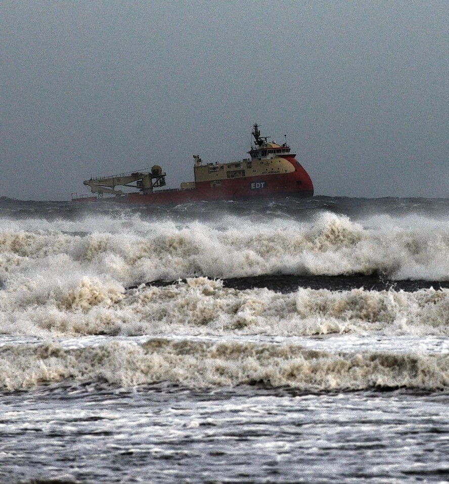 Large areas of Scotland saw sleet and snow today, Aberdeen saw wind and waves
