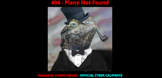 The Lizard Squad left this message for users of the Malaysian Airlines website