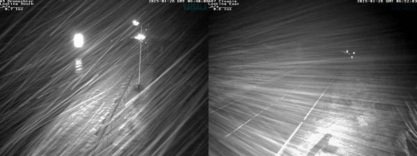 Pictures from a road camera operated by Traffic Scotland show snow on the A9
