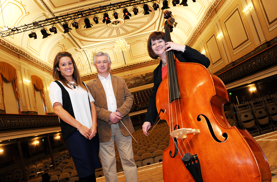 Conductor Gareth John with Friends of Anchor Fundraising Manager Sarah-Jane Hogg (left) and cancer survivor Shona Owen.
