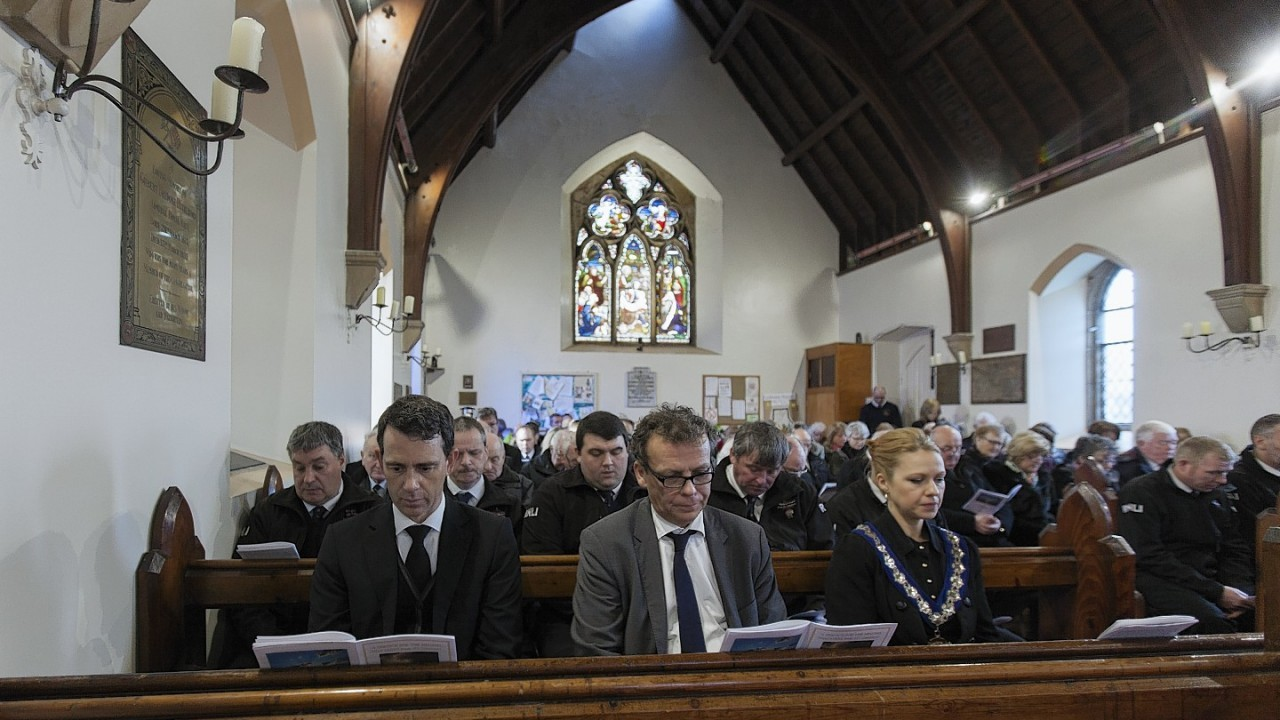 Over 100 people attended the service for the crew of the Cemfjord