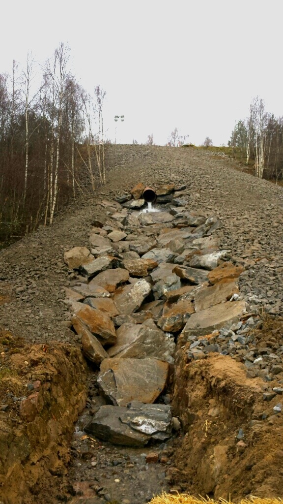 The completed embankment beside the A9 at Kincraig