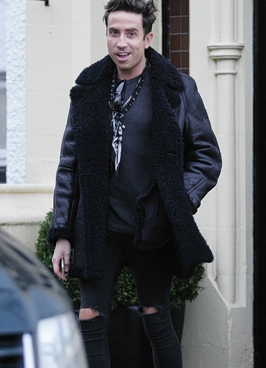 Nick Grimshaw outside the hotel