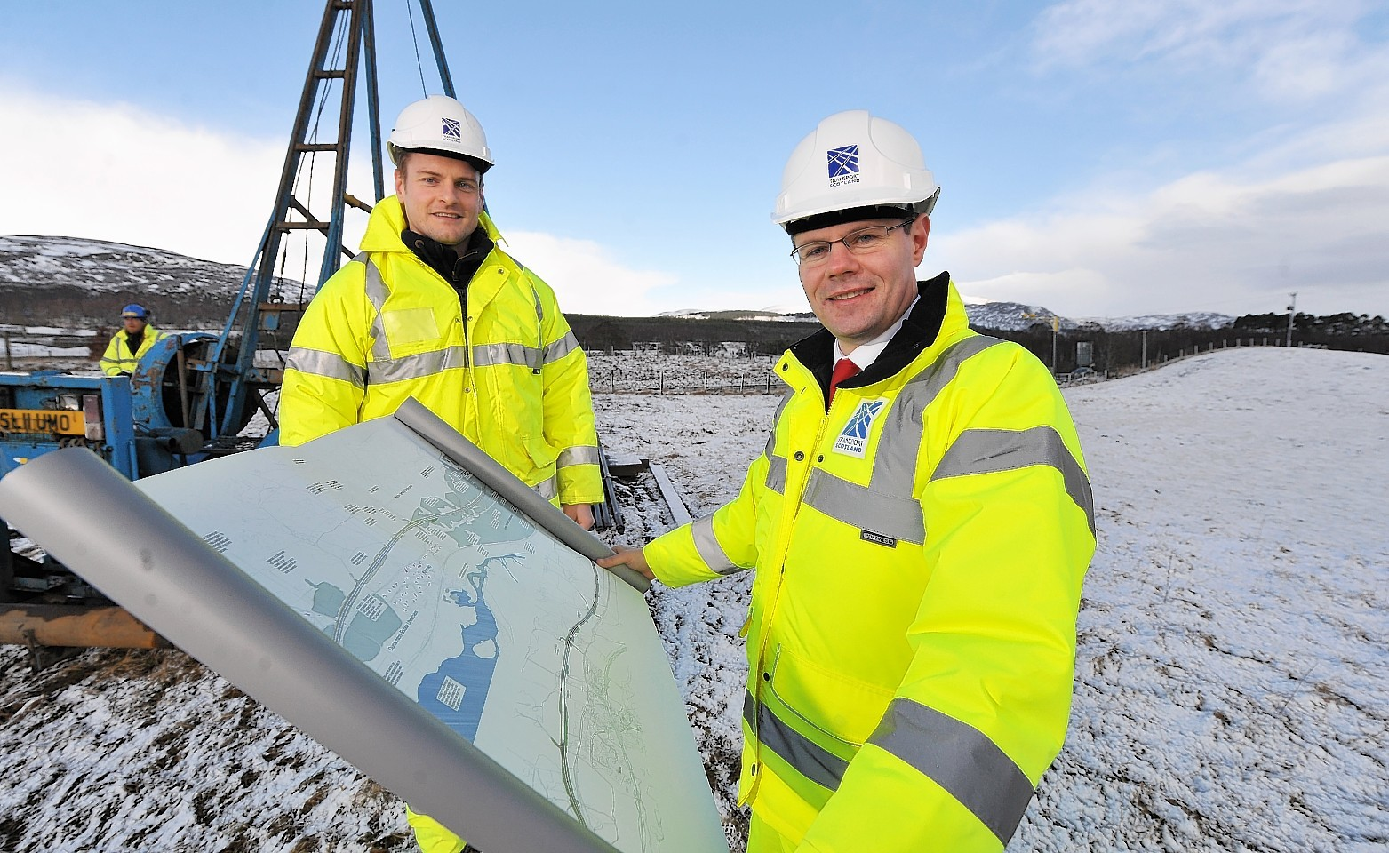 Transport minister Derek Mackay with Transport Scotland project manager Peter Ritchie