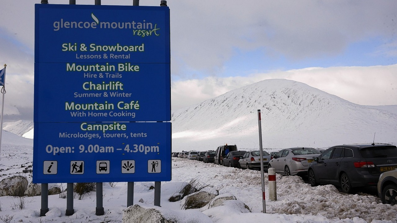 Police had to be called as thousands flocked to the Glencoe slopes after heavy snowfall