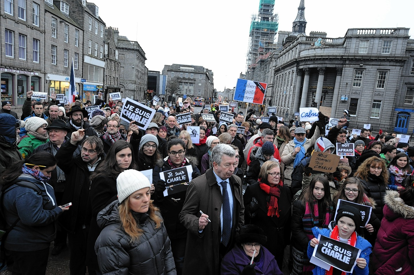 Vigil For Charlie Hebdo And Defence Of Freedom at the Castlegate to protest against the terrorist attacks in Paris and to stand-up for a free press, free speech, and political satire.
