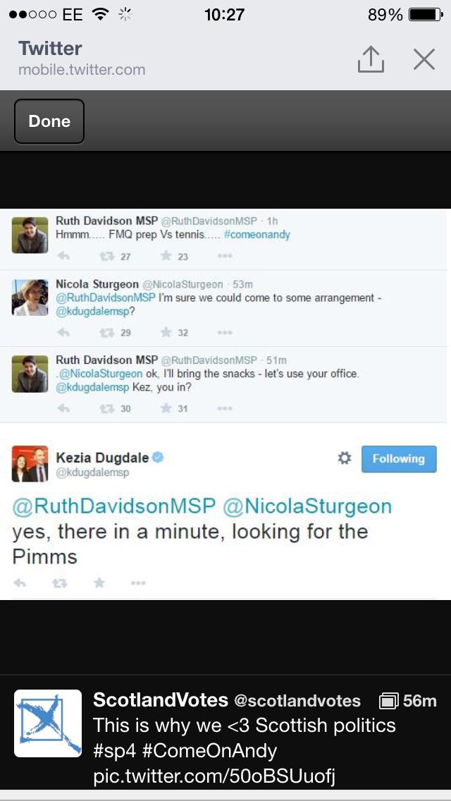 Twitter conversation between Nicola Sturgeon, Ruth Davidson