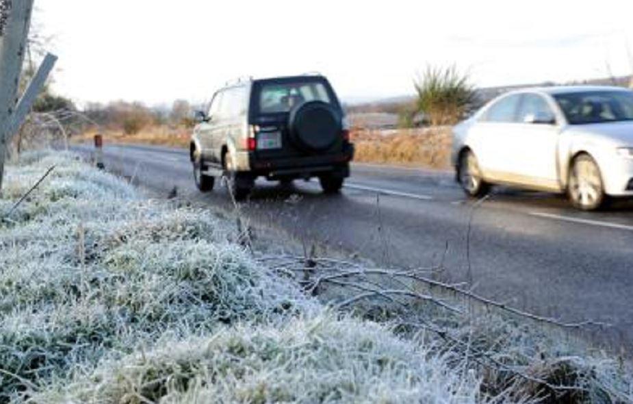 Aberdeenshire's icy roads yesterday, near Durris.