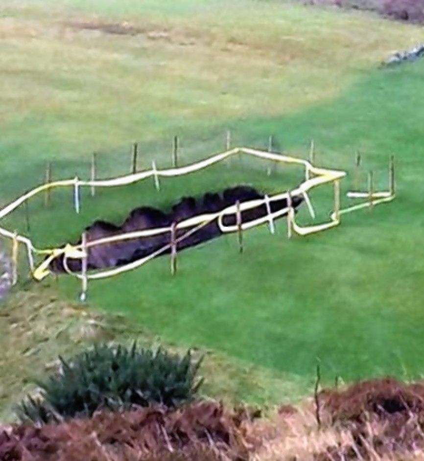 A huge sink hole opened up at Traigh Golf Club near Mallaig, Inverness-shire