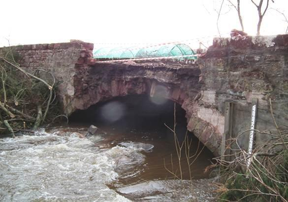Damage to the bridge at Newhall