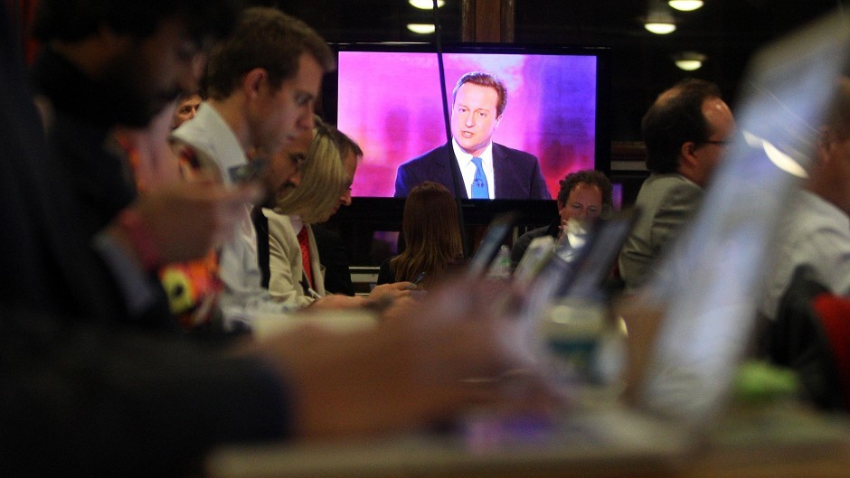 David Cameron during the final live leaders' TV election debate in 2010