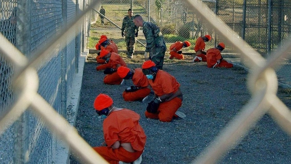 Detainees in a holding area at Guantanamo (US Department of Defence/PA)