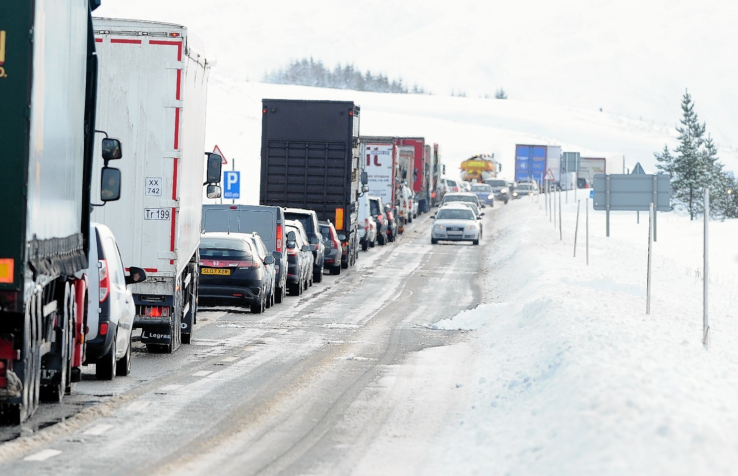 Vehicles forced to queue on the A9 during severe weather