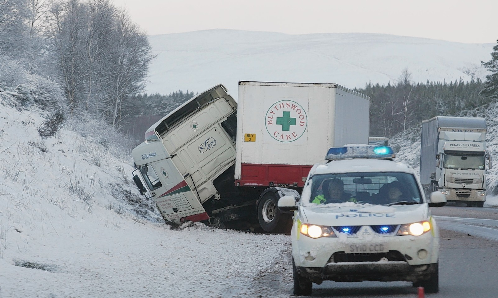 Police had to deal with this jack-knifed lorry on the A9