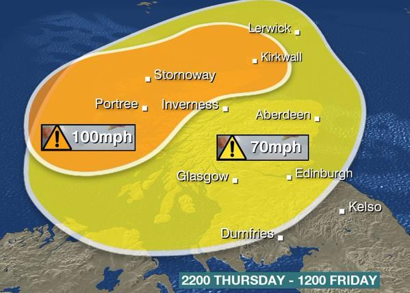 Picture courtesy of BBC weather
