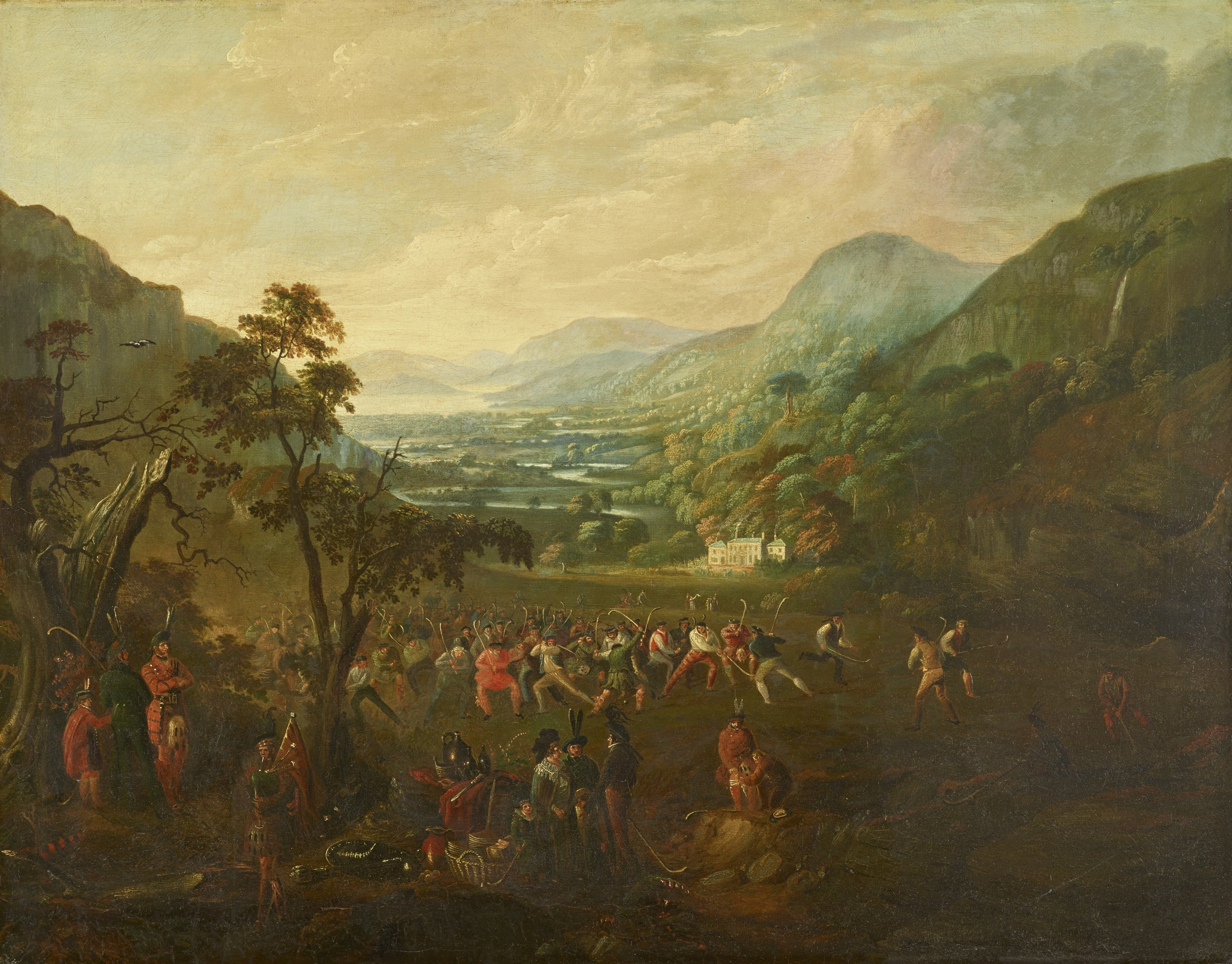 A Highland View with a Game of Shinty