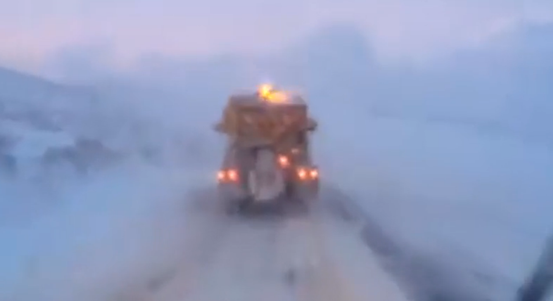 Footage shows hazardous driving conditions