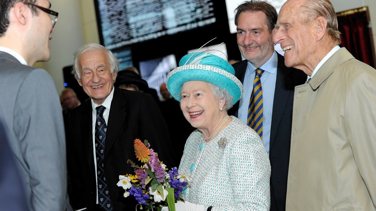 Aberdeen University's Sir Duncan Rice Library, being visited by the Queen and the Duke of Edinburgh