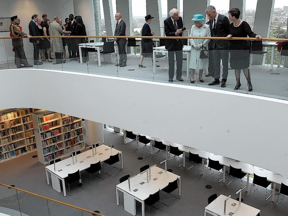 Aberdeen University's Sir Duncan Rice Library being opened by the Queen and the Duke of Edinburgh