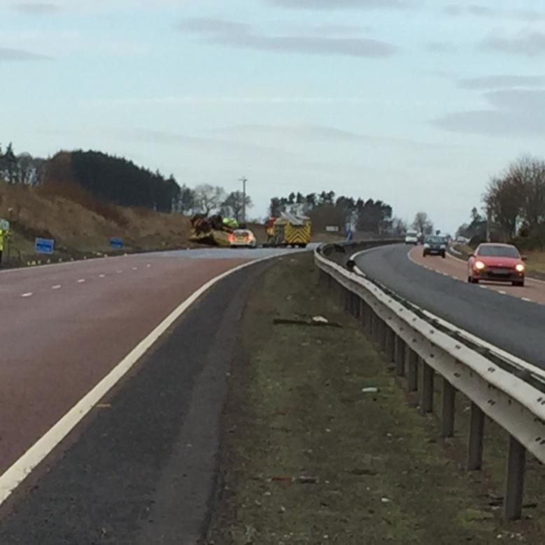 A gritter van driver died following a crash on the A90 this morning