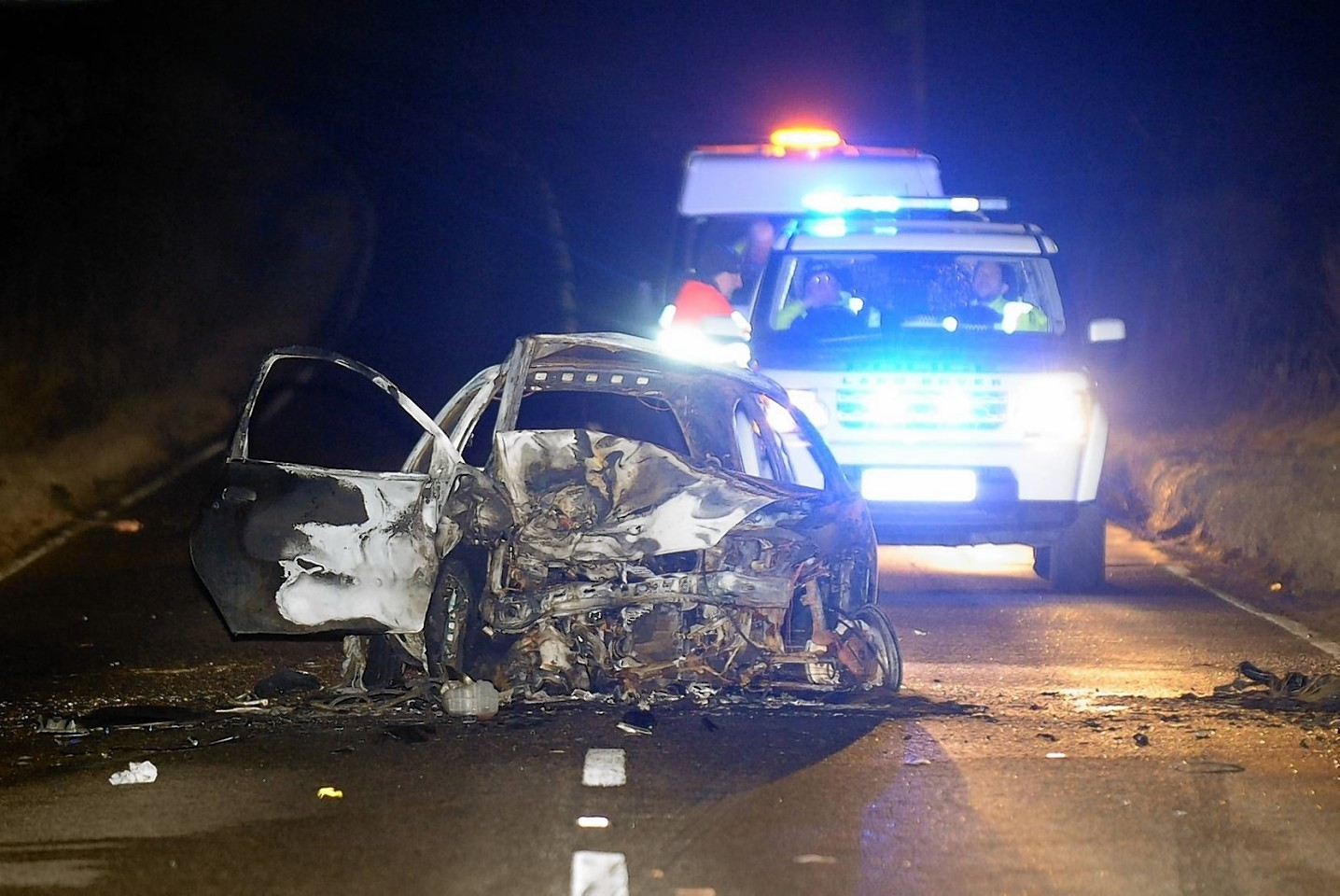 The scene of the crash on the South Deeside Road last night
