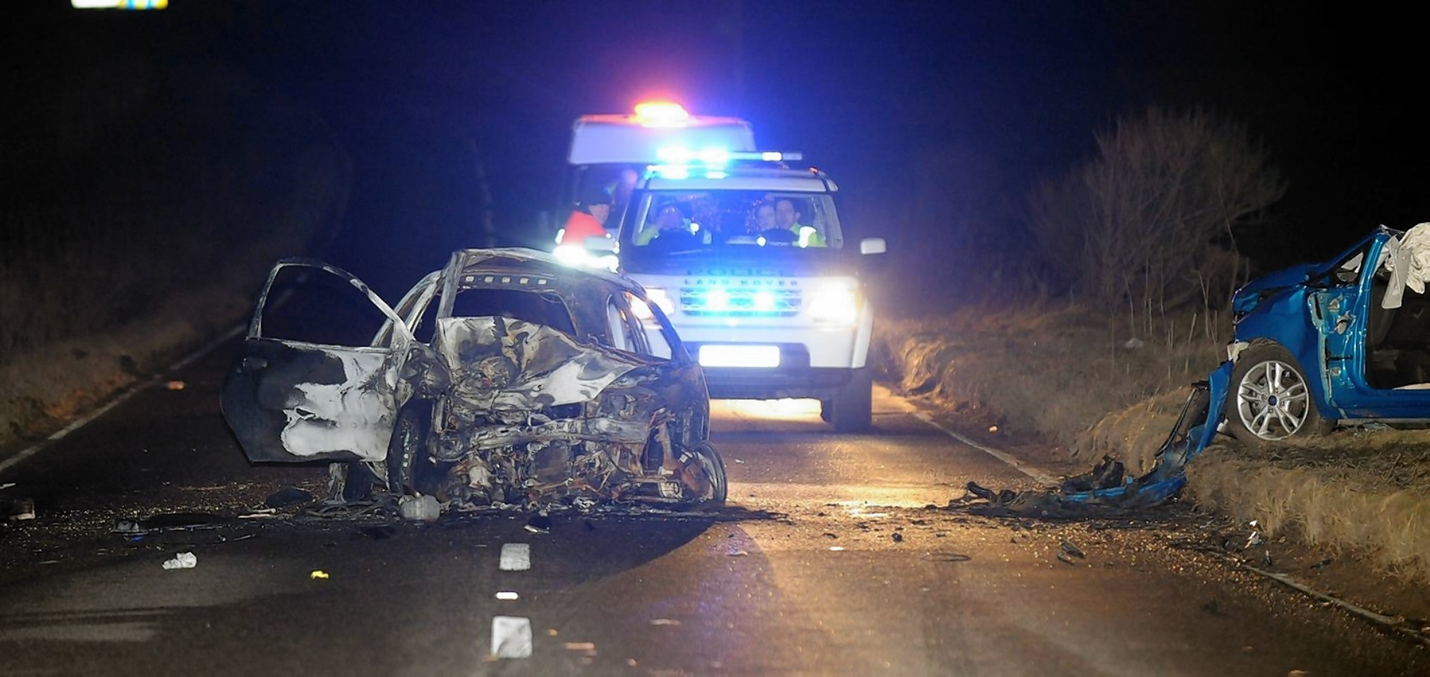 The scene of the crash on the South Deeside Road last night.  Credit: Kevin Emslie.