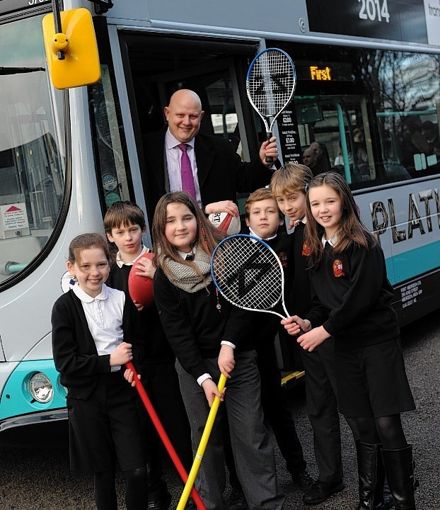 First Bus Aberdeen announced as the official sponsor of the Aberdeen Youth Games, on a visit by First Aberdeen managing director David Phillips to Culter Primary.