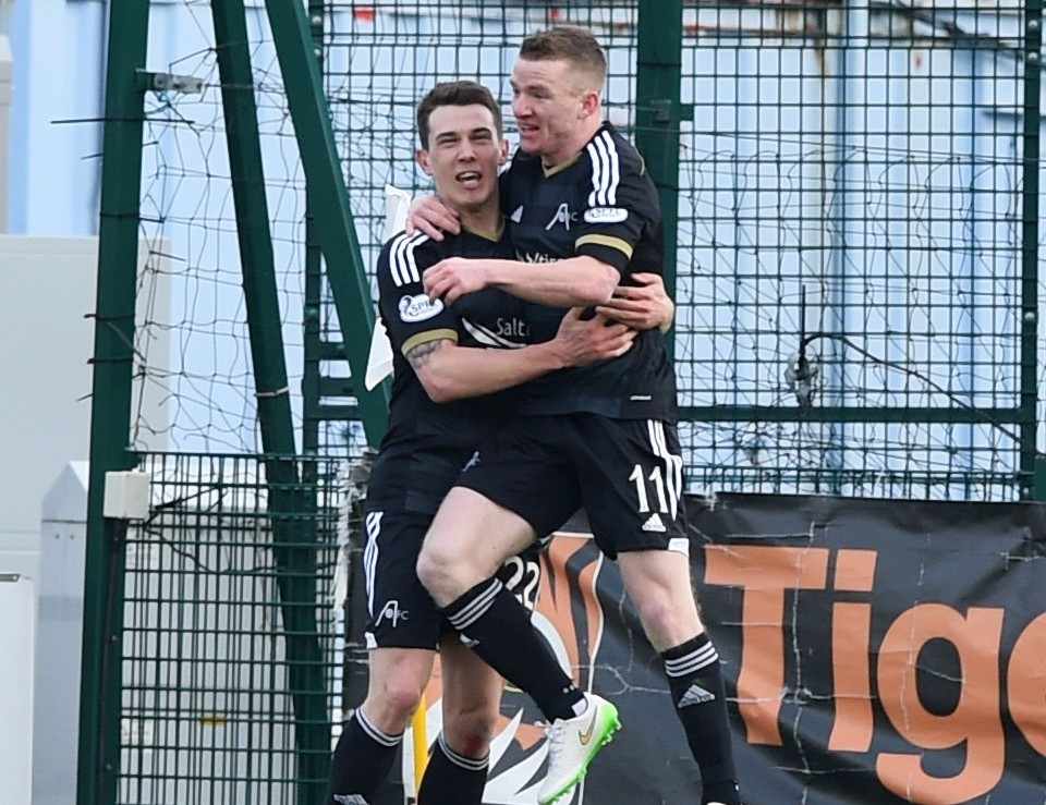 Ryan Jack celebrates netting Aberdeen's second goal with Jonny Hayes