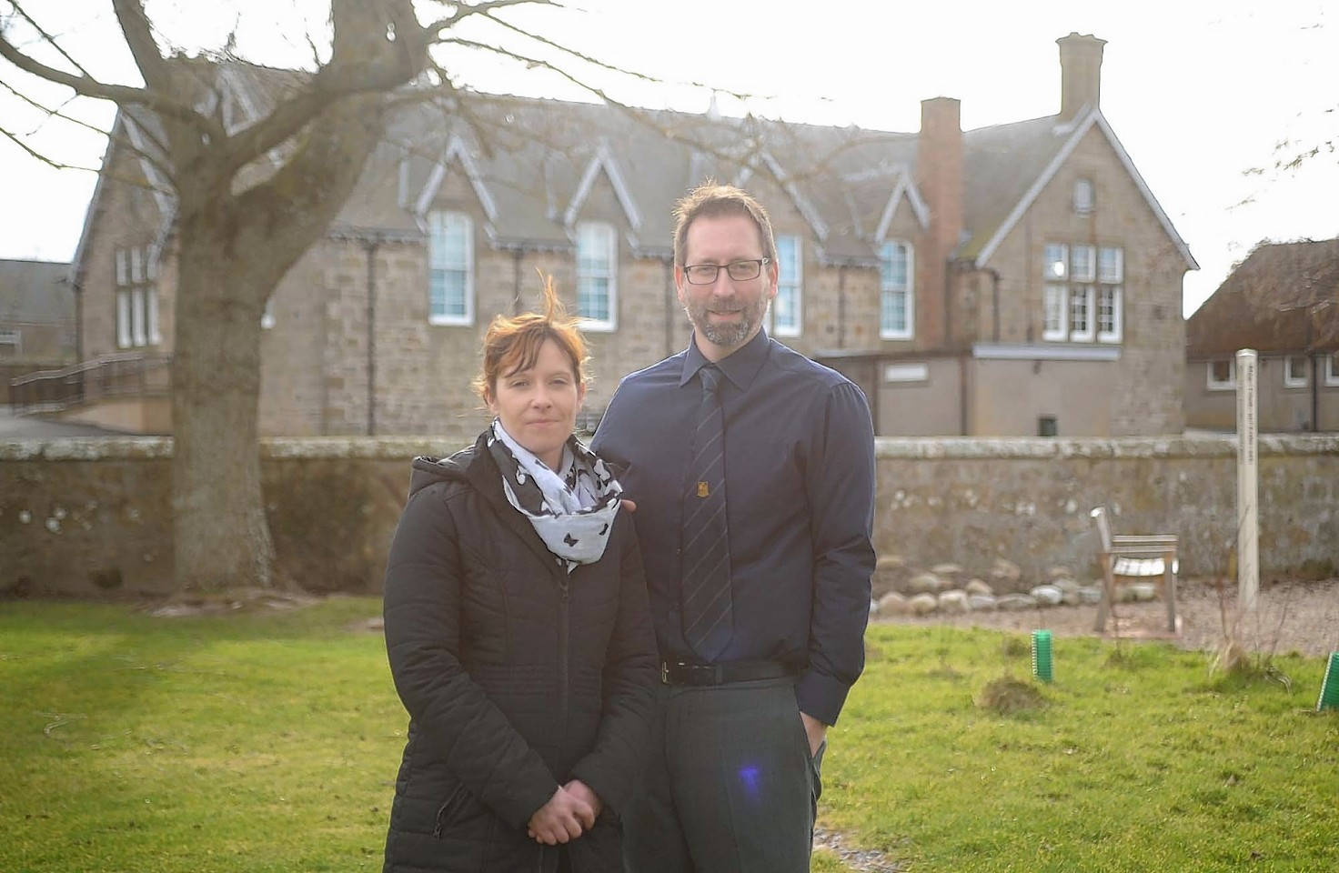 Alves primary parent councillor Joanna Cockburn and head teacher James Mcleman